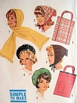 1960s  ACCESSORY Pattern Simplicity 5184  Beret Hat, Hood, Scarf, Tote Bag Vintage Sewing Pattern