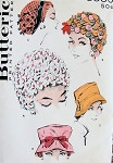 1950s Hats Pattern Butterick 8880  Five High Fashion Styles Fun Floral Wig Hat ,Fedora, Directoire Bonnet Hat Vintage Sewing Pattern UNCUT
