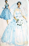 1950s Romantic Princess Grace Style Bridal Bridesmaid Dress Wedding Gown Pattern Fitted Bodice Full Beautiful Skirt Simplicity 4697 Vintage Sewing Pattern Bust 34