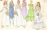 1970s LOVELY ROMANTIC BRIDAL DRESS PATTERN  OFF SHOULDERS WEDDING GOWN 6 STYLE VERSIONS