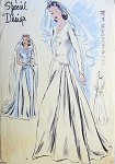 1940s Beautiful Wedding Gown Bridal Dress Pattern Longer Torso Design Scalloped Neckline, Long Fitted Sleeve Version Has Scalloped Extensions Very Beautiful Vogue Special Design 4494