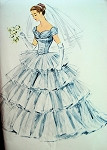 1950s McCalls Pattern 3113 DREAMY Romantic WEDDING DRESS BRIDAL GOWN  Multi Tiered Tulle Full Skirted Fitted Bodice Flattering Neckline Ante Bellum Design