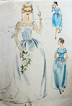 1950s Beautiful Bell Shape Skirt Bridal  Bridesmaid Dress Wedding Gown Pattern 2 Lengths With Shaped Train or Short Formal and Petticoat McCalls 5207 Vintage Sewing Pattern Bust 36