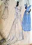 1940s Stunning Wedding Gown Bridal Bridesmaid Dress Pattern Basque Bodice With Peplum Lovely Design Butterick 3685 Vintage Sewing Pattern Bust 32