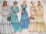 1970s BOHO WEDDING DRESS BRIDAL GOWN PATTERN Plus SCARF 5 Romantic Bohemian Styles Bust 31.5 Vintage Sewing Pattern