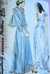 1940s  Glamorous Nightgown and Bed Jacket Pattern SIMPLICITY 2222  Honeymoon Lingerie Gown Sweetheart Neckline Lovely Design Bust 30 Vintage Sewing Pattern