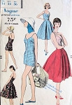 1950s BEACH WEAR PATTERN FITTED PLAYSUIT SWIMSUIT and FULL INVERTED PLEAT SKIRT CLASSY 50s BEACH WEEKEND WEAR VOGUE 9621 Bust 34