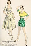 1950s Rare Beach Weekend Resort Wear Pattern Advance 5850 Vintage Sewing Pattern Michael Woulfe Designed For Janet Leigh Steaming Hot High Waist Shorts, Midriff Top and Full Skirt Pattern