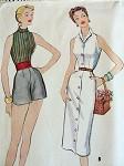 1950s BEACHWEAR PATTERN Bombshell Style HALTER BLOUSE, SHORTS, SLIM FRONT BUTTON  SKIRT, CUMMERBUND McCALLS 9806 Vintage Sewing Pattern