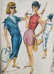 1950s NAUTICAL BEACH SPORTS OUTFIT PATTERN TEE SHIRT, SAILOR COLLAR OVERBLOUSE, CAPRI PANTS, SHORTS McCALLS 4538 Vintage Sewing Pattern