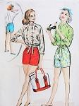 1950s Rockabilly Beach Wear Pattern High Waist Pin Up Shorts, Drawstring Waist Jacket or Blouse McCalls 4047 Bust 34