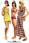 70s  BIKINI, COVER UP, BEACH DRESS PATTERN SIMPLICITY 9378