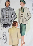 1940s  Coat Jacket Pattern McCall 6814 Vintage Sewing Pattern 2 Joan Crawford Film Noir Styles Bust 32
