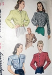 1940s SHORT JACKETS PATTERN BLOUSON STYLE BUTTON or DRAWSTRING AT WAIST 5 STYLE VERSIONS VERY LAUREN BACALL SIMPLICITY 1535 Bust 34