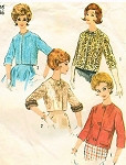 1960s Stylish Jackets Pattern Simplicity 4655 Waist Length Shortie Jackets 4 Style Versions Daytime or Evening Bust 32 Vintage Sewing Pattern