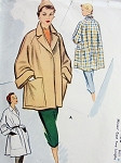 1950s Fab Flare Back Coats Jackets Pattern McCall 8430 Chic Wide Cuffs Over Sized Pockets 2 Lengths Bust 34 Vintage Sewing Pattern