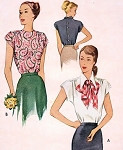 1940s Beautiful Blouse Pattern Film Noir Styles McCall 7242 Vintage Sewing Pattern Perfect Under A Suit Blouse