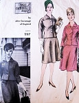 1960s JOHN CAVANAGH Classy Suit Pattern Vogue Couturier Design 1197 Lovely Fitted Jacket Flared Skirt With Shaped Panel Bust 36 Vintage Sewing Pattern