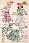1940s UNIQUE  NECKTIE APRON PATTERN LOVELY STYLE PLUS PANSY FLOWER APPLIQUE TRANSFER McCALL PATTERNS 884
