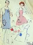 1950s HIS HERS APRON PATTERNS BARBECUE CHEF STYLE, HOSTESS PATIO PARTY HERS STYLE BUTTERICK 8338