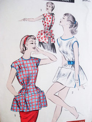 1950s Cobbler Apron Pattern ADVANCE 7878 Sew Easy Vintage Sewing Pattern
