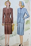 1940s SUIT PATTERN WW II FITTED JACKET, FRONT INVERTED PLEAT SKIRT McCALL SEWING PATTERNS 5601