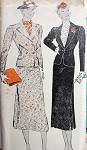 1930s SUIT PATTERN 2 FITTED JACKET STYLES, SLIM SKIRT ,SIDE SLIT, CLASSY DESIGN  NEW YORK PATTERNS 756