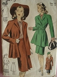 1940s  WAR TIME SUIT  PATTERN GREAT 3/4 COAT JACKET DUBARRY 5933