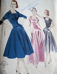 1950s EVENING SEPARATES PATTERN  SQUARE LOW NECKLINE, FITTED BODICE, JACKET, 8 GORE SKIRT 2 LENGTHS BUTTERICK  PATTERNS 7552