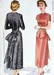 1940s  PEPLUM BUSTLE BOW COCKTAIL EVENING DRESS PATTERN  LOVELY DESIGN McCALL 7446