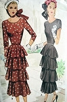 1940s  LOVELY  DINNER DRESS PATTERN BEAUTIFUL TIERED DESIGN FILM NOIR STYLE McCALL 7258