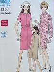 1960s  SEMI FITTED SLIM DRESS PATTERN SLIT NECKLINE, MOD SHIFT STYLE VOGUE 7397