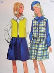 1960s  SLEEVELESS JACKET, SKIRT, BLOUSE PATTERN BUTTERICK 4893