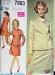 1960s  SLIM DRESS, SIDE CLOSING JACKET PATTERN  CLASSY STYLE SIMPLICITY DESIGNER FASHION 7903