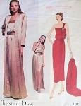 1980 CHRISTIAN DIOR ONE SHOULDER EVENING DRESS, COAT, BELT PATTERN VOGUE PARIS ORIGINAL 2127