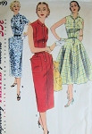 1950s SIMPLICITY DRESS PATTERN 1199 SLIM or FLARED STYLES