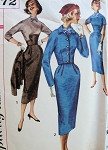 1950s SLIM DRESS, SHORTIE JACKET PATTERN STAND UP MANDARIN COLLAR, SHAPED MIDRIFF,  CROPPED JACKET SIMPLICITY 2172