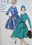 1950s FULL SKIRTED DRESS PATTERN LOVELY V NECKLINE, 2 SLEEVE VERSIONS VOGUE 9626