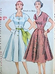 1950s Pretty Dress Pattern SIMPLICITY 3878 Full Skirt 2 Neckline Styles Party or Day Dress Simple To Make Bust 35 Vintage Sewing Pattern FACTORY FOLDED