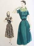 1950s DRESS, SCARF HOOD PATTERN FLATTERING SQUARE NECKLINE VOGUE SPECIAL DESIGN 4390