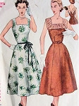 1950s Beautiful Square Neck Day or Party Dress Pattern SIMPLICITY 4347 Two Flattering Versions Simple To Make Bust 43 Vintage Sewing Pattern