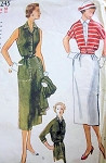 VINTAGE SIMPLICITY DRESS, JACKET 1950S PATTERN 4245