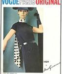 1960s MOLYNEUX VOGUE PARIS Original Pattern1489 Slim Dress DIAGONAL Seam Design FACTORY FOLDED