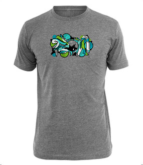 Heathered cotton/poly blend tee with FLOW graphic. Artwork by Sector Seventeen
