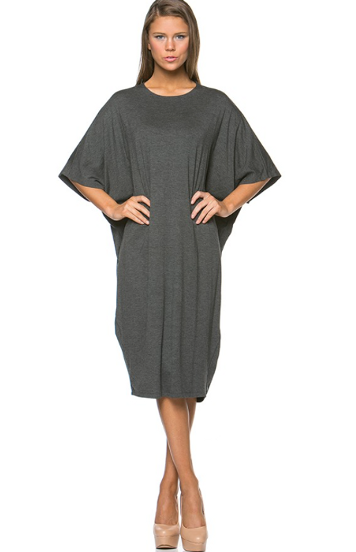 This summer's hottest style in dresses. Beautiful dolman sleeve in our famous rayon spandex fabric. Style to suit your day, belted, loose, over your favourite leggings, or as a cover up at the beach, either way it looks great.A super addition to your wardrobe that you will consider your new favourite!