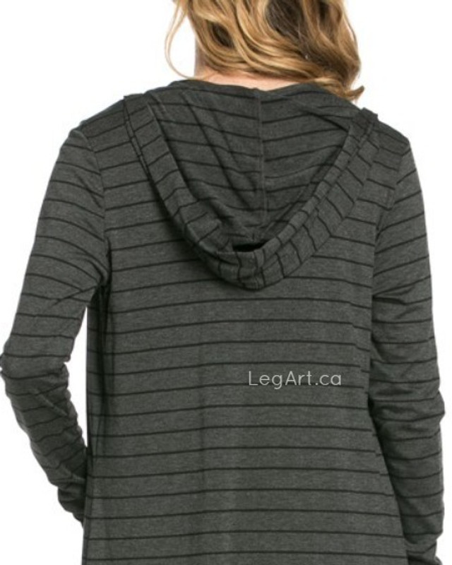 Hooded Cardi Charcoal Stripe