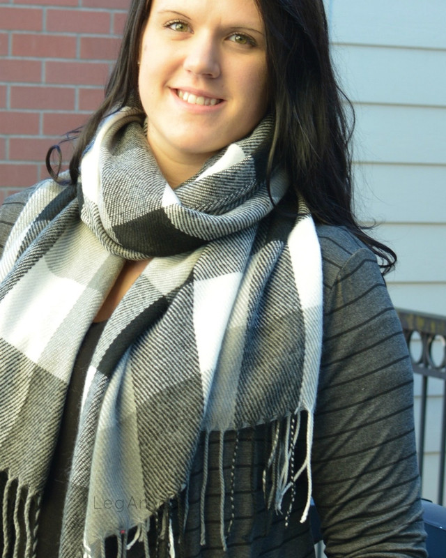 Black, Grey and White Tassel Scarf