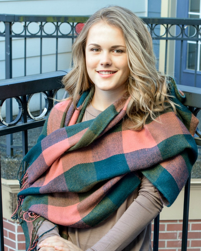 Salmon, Olive and Forest Green Tassel Scarf
