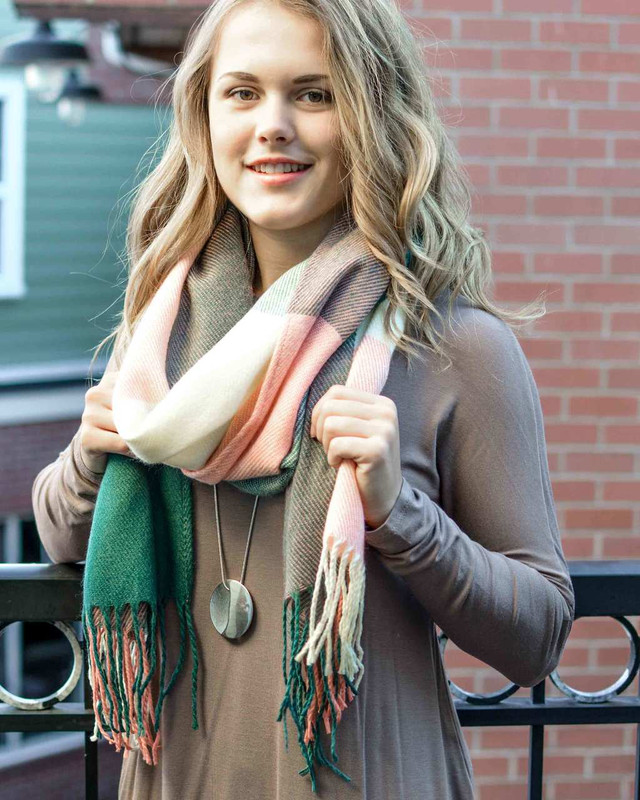 Salmon, Ivory and Forest Green Tassel Scarf