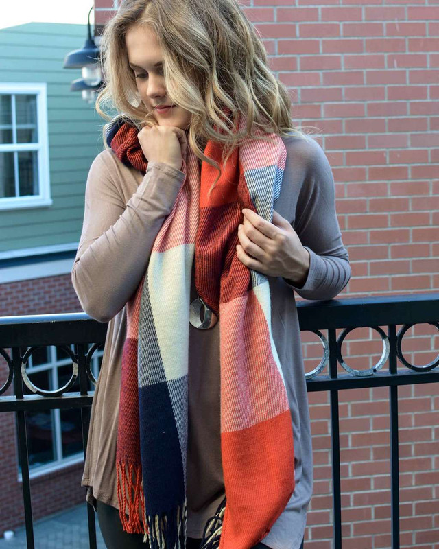 Red, Ivory and Navy Tassel Scarf